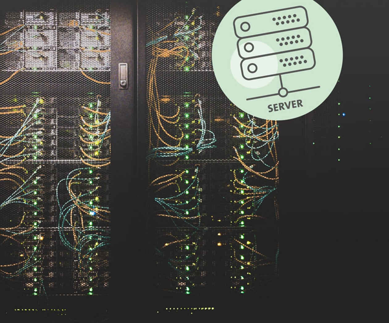 "Serverraum mit Icon ""Server"""