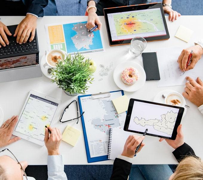 Kartendarstellungen an verschiedenen Devices