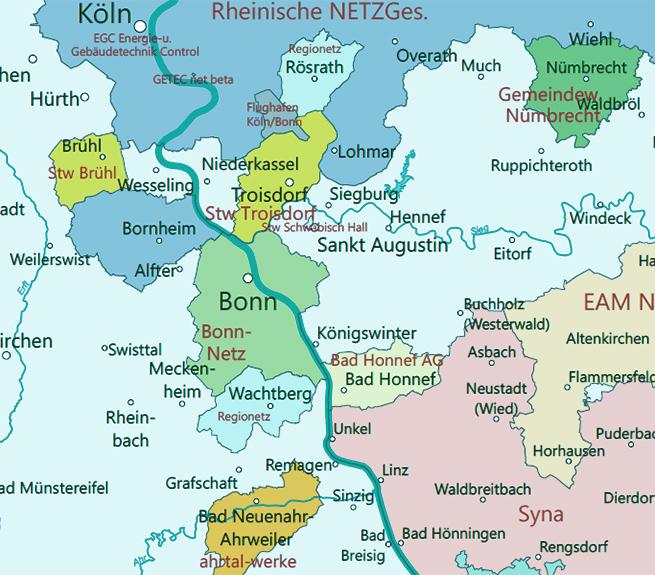 Energiemarkt Stromnetzbetreiber Karte