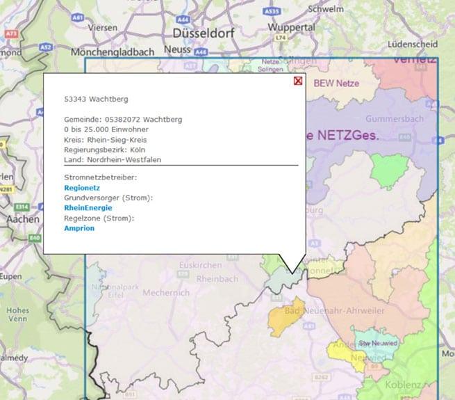 Energiedaten in einer digitalen Karte