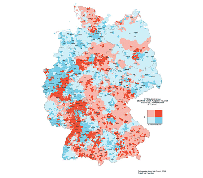 Map with data for pharmaceutical market