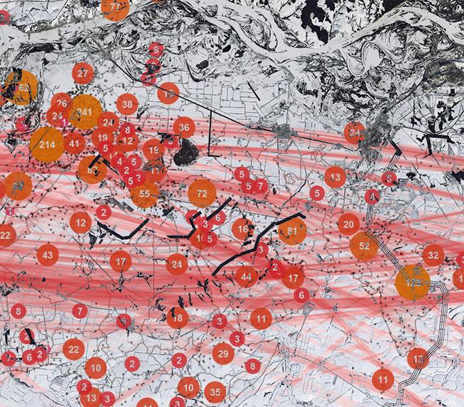 Luftaufnahme von verschneiter Landschaft mit eingeblendeten Kartenelementen