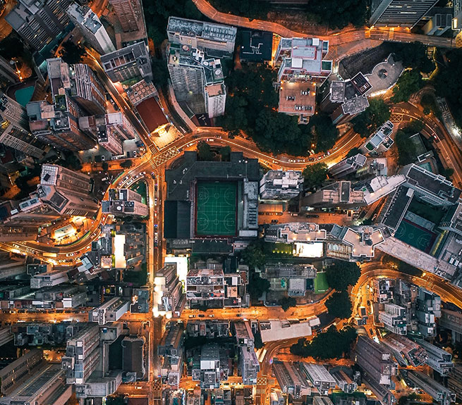 Bird's eye view of big city