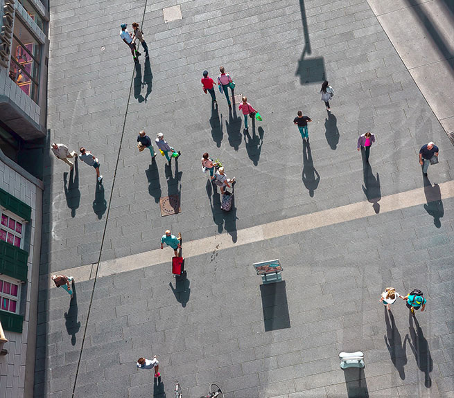 People in a pedestrian zone, top view